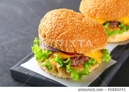 Tasty homemade burger consisting of bun 40880241