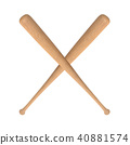 Two crossed baseball bats 40881574