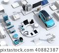 เครื่องใช้ไฟฟ้าภายในบ้านและรถยนต์ไฟฟ้าแบบสมาร์ทจัดเป็นอักขระ IoT บนพื้นหลังสีขาว แนวคิดอินเทอร์เน็ตของสิ่งมีชีวิต 40882387