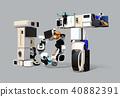 스마트 가전 및 전기 자동차로 표현한 IoT 문자. 생활에있는 물건의 인터넷 개념 40882391