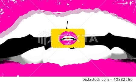 Lovely girl`s lips inside a female mouth 40882566