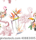 pattern, bird, flower 40883005