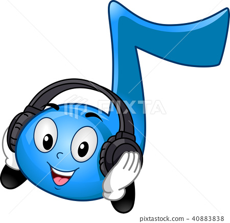 Mascot Music Note Headphones Illustration 40883838