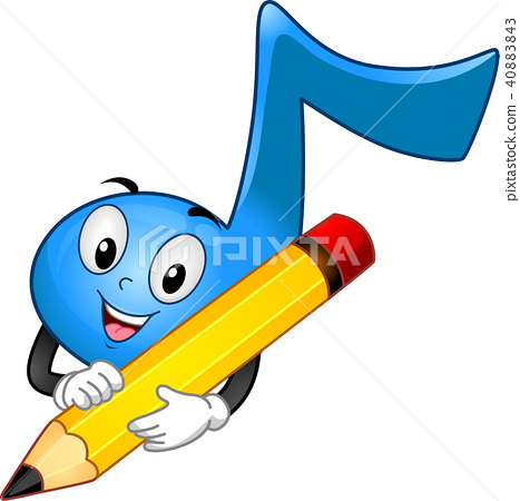 Mascot Music Note Write Illustration 40883843