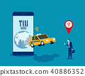Taxi service. Businessman call taxi with mobile 40886352