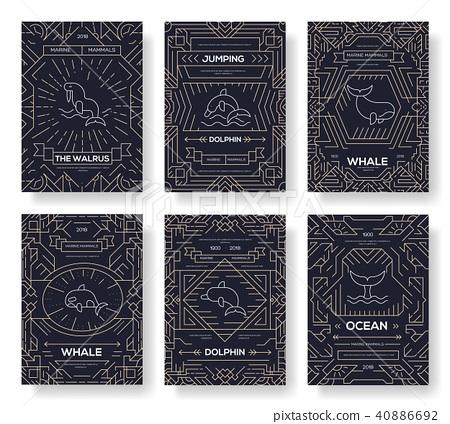 Set of Sea mammals pattern concept. Art animal 40886692