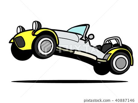 輕量級跑車黃色雙色調跳躍的汽車例證 40887146