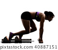 african runner running sprinter sprinting woman isolated white b 40887151
