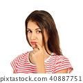 emotional girl isolated on white background 40887751