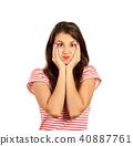 emotional girl isolated on white background 40887761