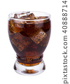 Cola in glass with ice cubes on white background 40888714