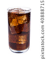Cola in glass with ice cubes on white background 40888715