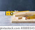 Wood and tools measuring cutting level DIY craft 40889343