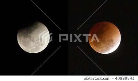 Super full blood moon on dark sky 40889543