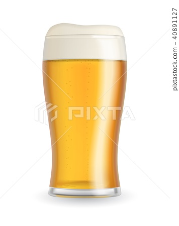 Realistic beer glass with blond beer 40891127