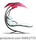 Luxury floating swing hammock isolated on white background. Vector cartoon close-up illustration. 40892770