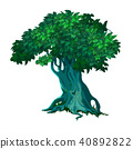 Lonely old deciduous tree isolated on white background. Vector cartoon close-up illustration. 40892822