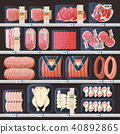 Showcase with meat products and price tags 40892865