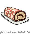 Delicious biscuit swiss roll with cream with a texture in the form of spots of a giraffe isolated on 40893106