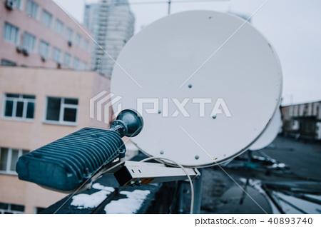 satellite dish industrial roof  building 40893740