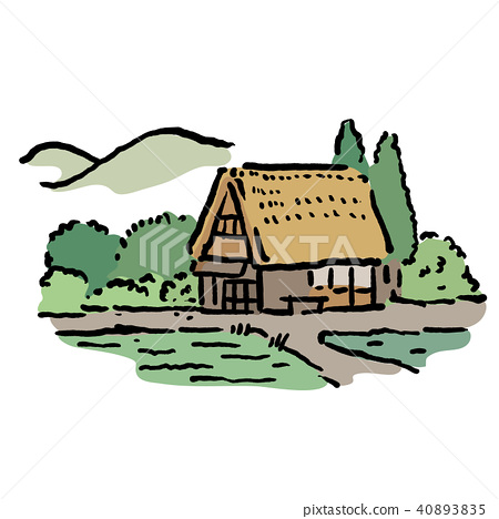 Japanese Country old private house illustration 40893835