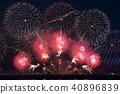 ดอกไม้ไฟสีแดงเปิดตัวที่งานแสดงพลุดอกไม้ไฟ Lake Biwa Large Fireworks 40896839