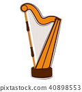Isolated harp sketch. Musical instrument 40898553