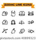 Zodiac Line Icons 40899323