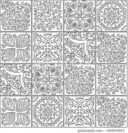 Black and white morocco mosaic design. Abstract ornamental tile in contour 40904091