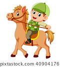 Little boy riding a pony horse 40904176