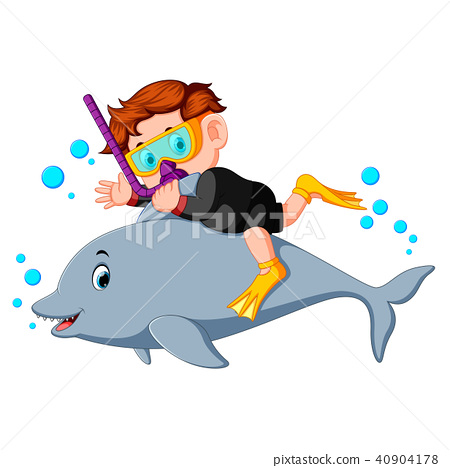 Boy diving with dolphin 40904178