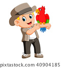 man the birds trainer with doing tricks parrot 40904185