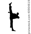 vector of silhouette martial arts high kick 40904619