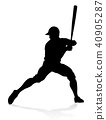 Baseball Player Silhouette  40905287