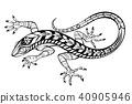 lizard, stylized, black 40905946