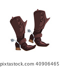 Pair of cowboy leather boots vector Illustration on a white background 40906465