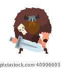 Viking warrior character with sword in helmet with horns vector Illustration on a white background 40906603