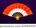 japanese fan, red, white 40906999