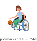 Cute athlete woman with physical disabilities playing in basketball. Active lifestyle. Young girl in 40907569