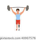 Young man with artificial leg holding barbell over his head. Weightlifting concept. Cross fit or 40907576