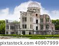 atomic bomb dome, world heritage, fresh verdure 40907999