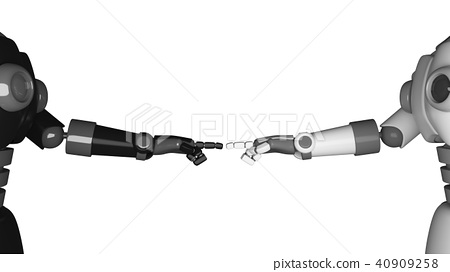 Robot hands pointing to each other isolated 40909258
