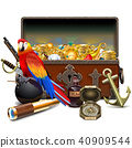 Vector Old Pirate Chest with Treasures 40909544