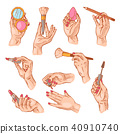 Cosmetic in hand vector beauty make up cosmetology for beautiful woman and manicured hands with 40910740