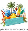 Vector Beach Concept with Blue Plank 40910829