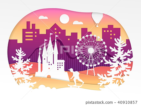 Theme park - vector paper cut illustration 40910857