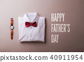 Fathers day greeting card concept. Flat lay. 40911954