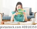 家庭帳簿·女性·沙發 40916350