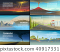 Set of natural disaster or cataclysms. Catastrophe and crisis Background. Realistic Tornado or storm 40917331