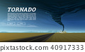 Twisting tornado or storm from sea hurricane in ocean. Realistic tropical natural disaster or 40917333